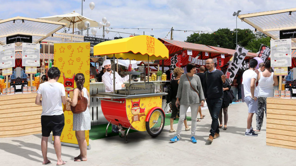 Food cart with deep fryer
